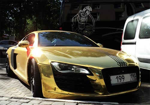 Gold-Plated Audi R8:Cars Go on mclaren p1 and bugatti, pagani zonda and bugatti, pagani huayra and bugatti, lamborghini and bugatti, hennessey venom gt and bugatti, dodge viper and bugatti, range rover and bugatti,