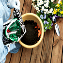 adding soil to container garden pot, Garden DIY
