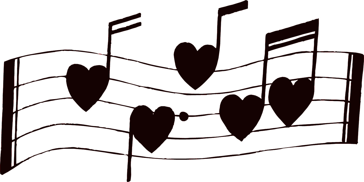 Musical notes with little hearts