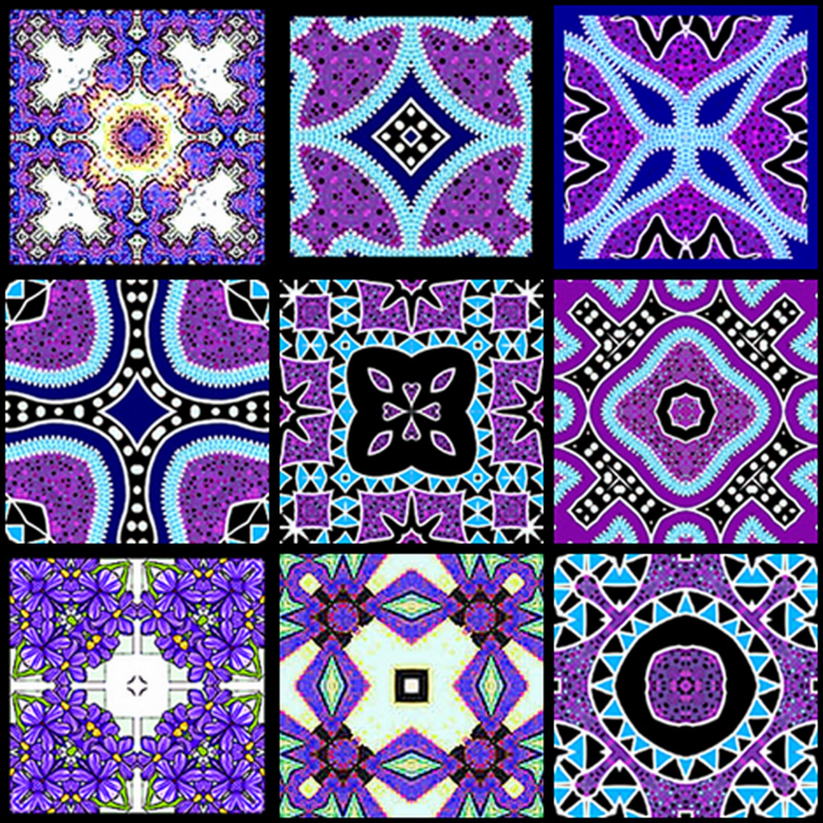 ArtbyJean - Tea Bag Tiles: Block of nine Tea Bag Tiles - Purple