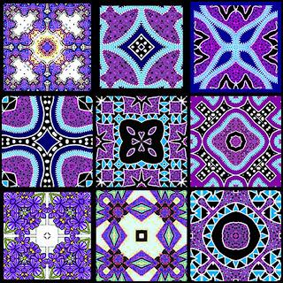 Artbyjean Tea Bag Tiles Block Of Nine Tea Bag Tiles Purple