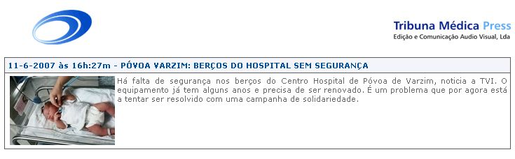Falta de segurança nos berços do Centro Hospital de Póvoa de Varzim