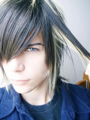 black and blonde hairstyles. Black Emo Hair for Boys.