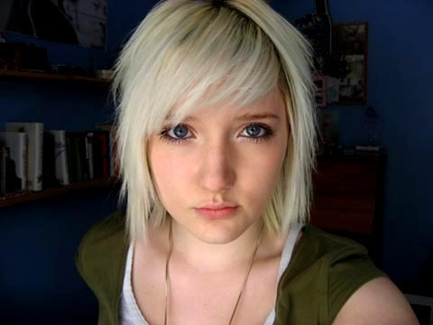 scene blonde hairstyles for girls. emo londe hairstyles for
