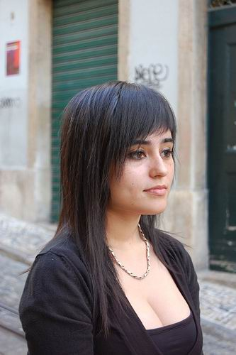 dark longger hairstyle with side swept bangs