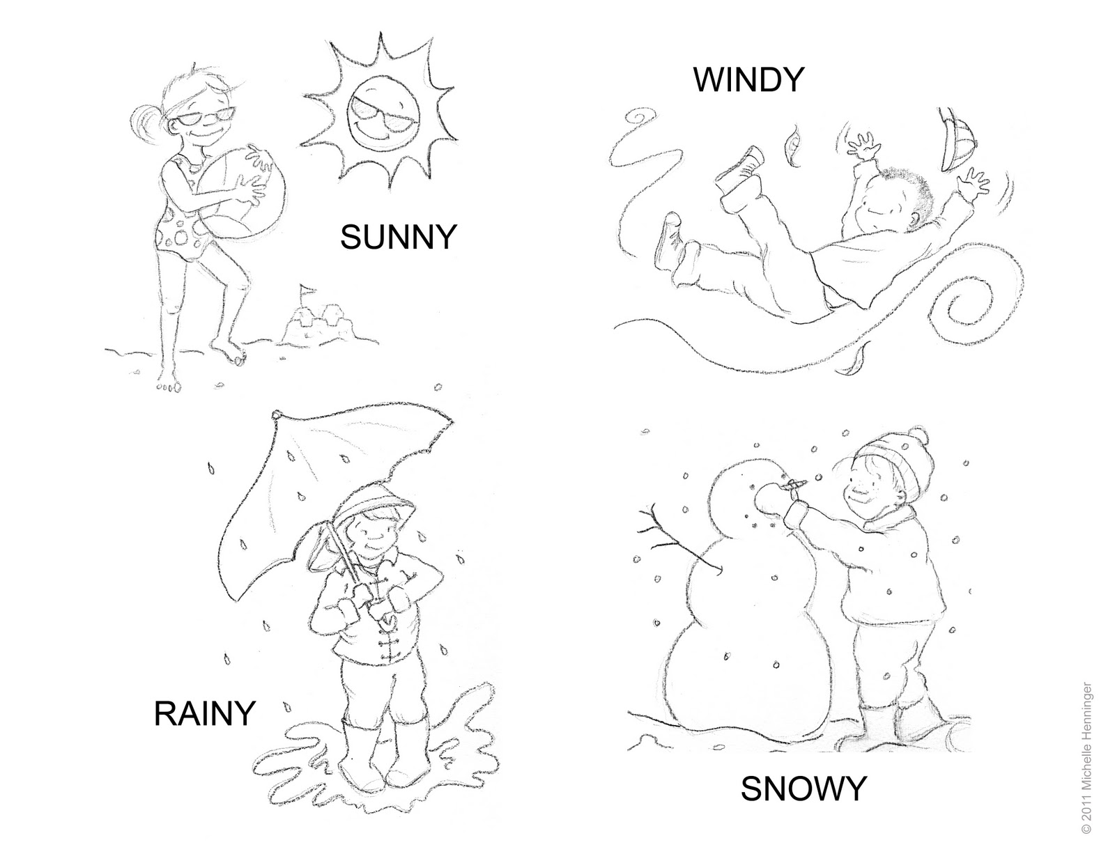 Michelle henninger weather coloring sheet for Weather coloring pages