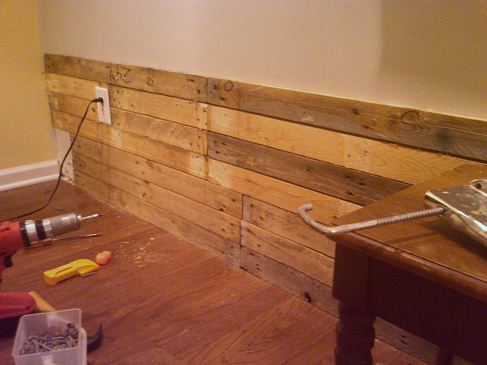 Wooden Wall Boards : Living room wall in progress mom and her drill