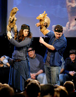 Julianne and Victor Yerrid perform in Puppet Up!