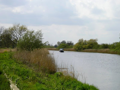 One of the few boats encountered on the river
