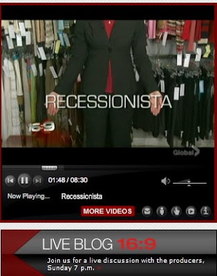 RECESSIONISTASHOT The New F Word is Frugal: Highlights of the LIVE Blog from TV show 16X9