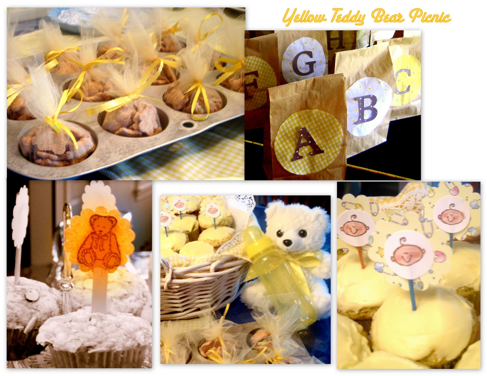 yesterday yellow teddy bear picnic baby shower