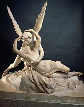 Cupidon si Psiche, sculptata de Antonio Canova (Muzeul Louvre, Paris)