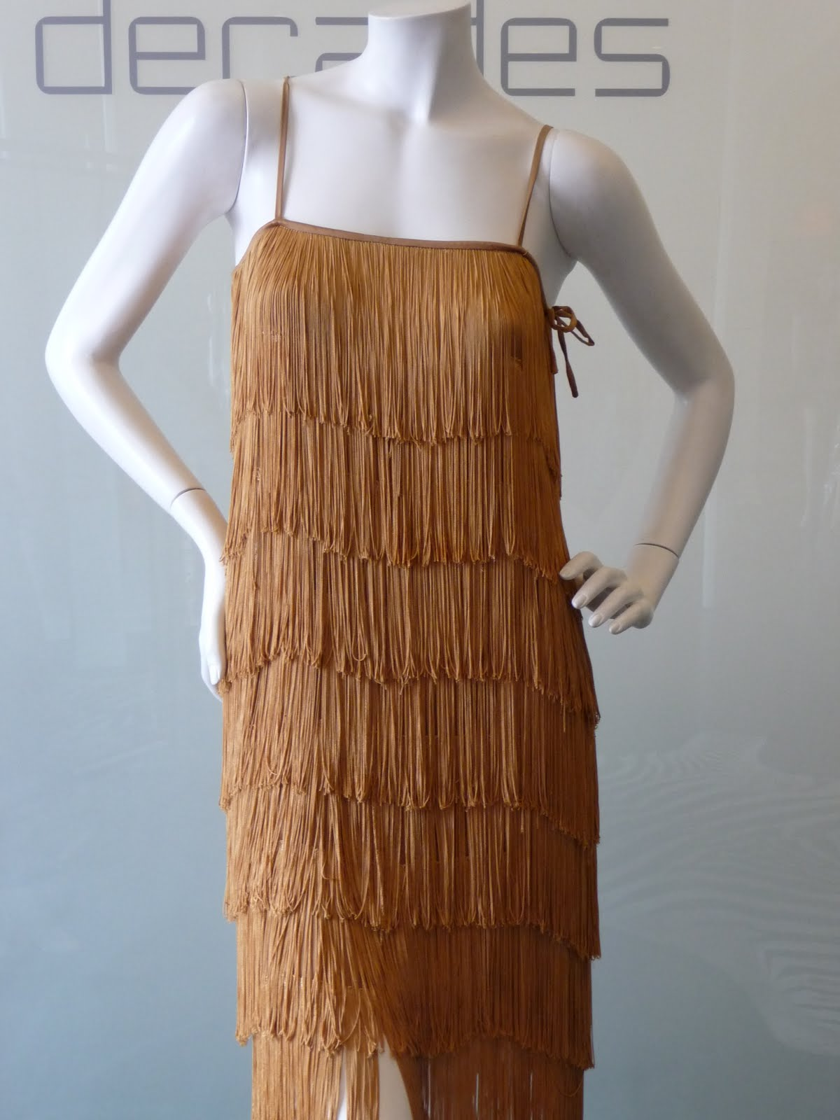 Bronze fringe flapper dress c late 70s modern size 4 to 6 sold