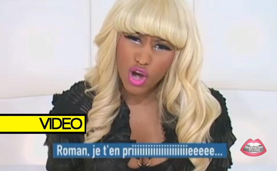 "Watch as Nicki Minaj answers questions from the ""Question Box"" on a France"