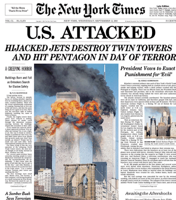 The New York Times front page from the afternoon of September 11, 2001,