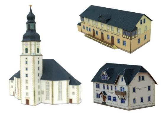 Papercraft german village for How to make different types of house models