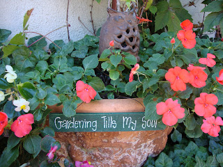 container gardening, garden sign, impatiens
