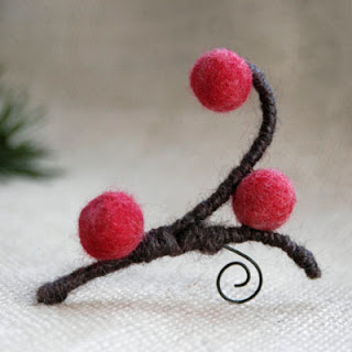 hand felt raspberry chocolate brooch