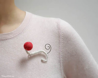 raspberry cranberry felted brooch
