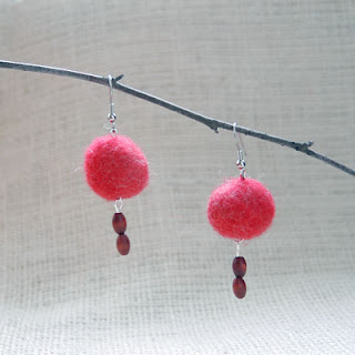 red felted earrings