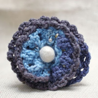 fiber flower brooch in blue