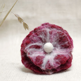 red fuchsia flower brooch felted