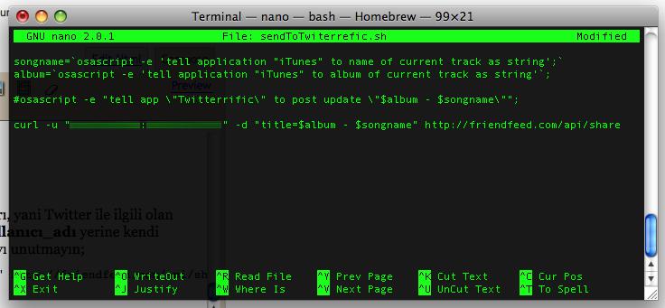 Ekran görüntüsü, Terminal, Nano editör