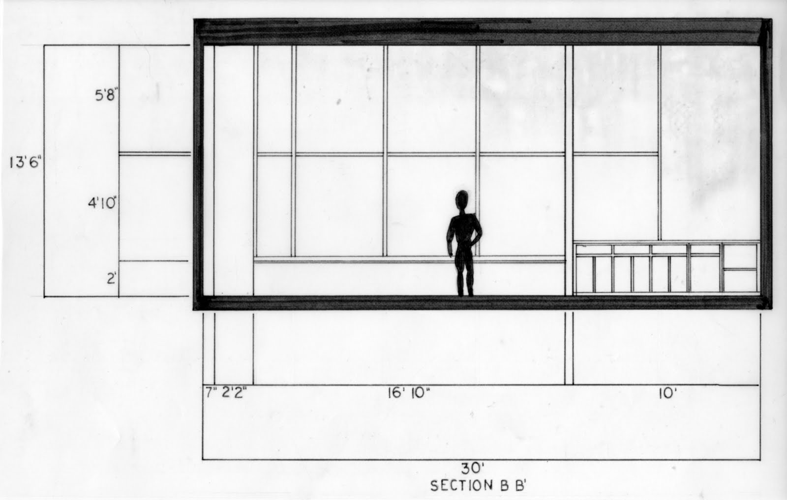 Plan Elevation Label : Cmb studio space final floor plan and section elevation