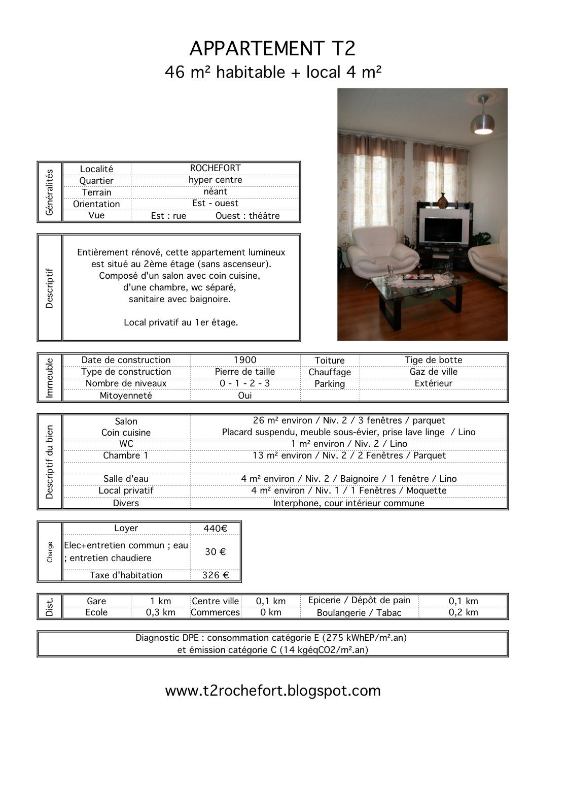 appartement t2 rochefort louer. Black Bedroom Furniture Sets. Home Design Ideas