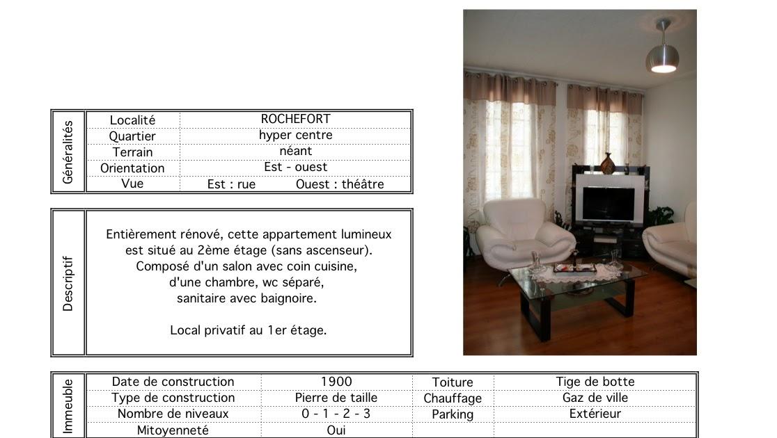 appartement t2 rochefort à louer: fiche technique
