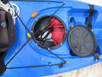 Close up of kayak rear compartment