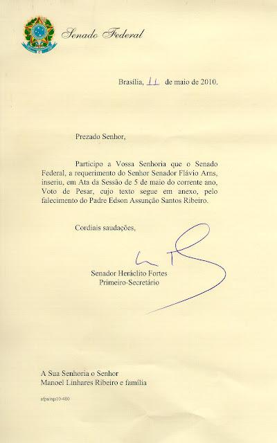 Voto de Pesar do Senado Federal, pelo falecimento do Pe. Edson Assunção.