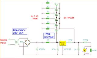 7812 2n3055 High Power Supply Regulator Gambar Skema