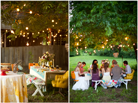 Decoration outdoor party decorations for Backyard engagement party decoration ideas