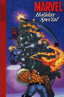 Review Marvel Holiday Special 2004 2005 Marvel Team-Up Uncanny X-Men Tom DeFalco Roberto Aguirre-Sacasa Shaenon Garrity Jeff Parker Mike Carey Roy Thomas Chris Claremont Takeshi Miyazawa Roger Cruz Duncan Roleau Roger Langridge Reilly Brown Mike Perkins Ross Andru John Byrne Spider-Man Fantastic Four Mr. Fantastic Invisible Girl Human Torch Thing Christmas Tree Marvel Cover trade paperback tpb digest comic book