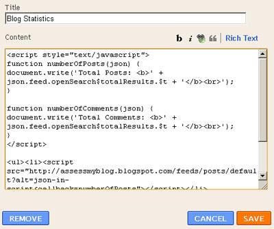 Configure HTML Gadget