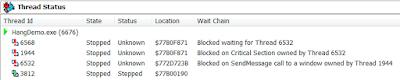 Deadlock 1 в Delphi с поддержкой Wait Chain Traversal (WCT)