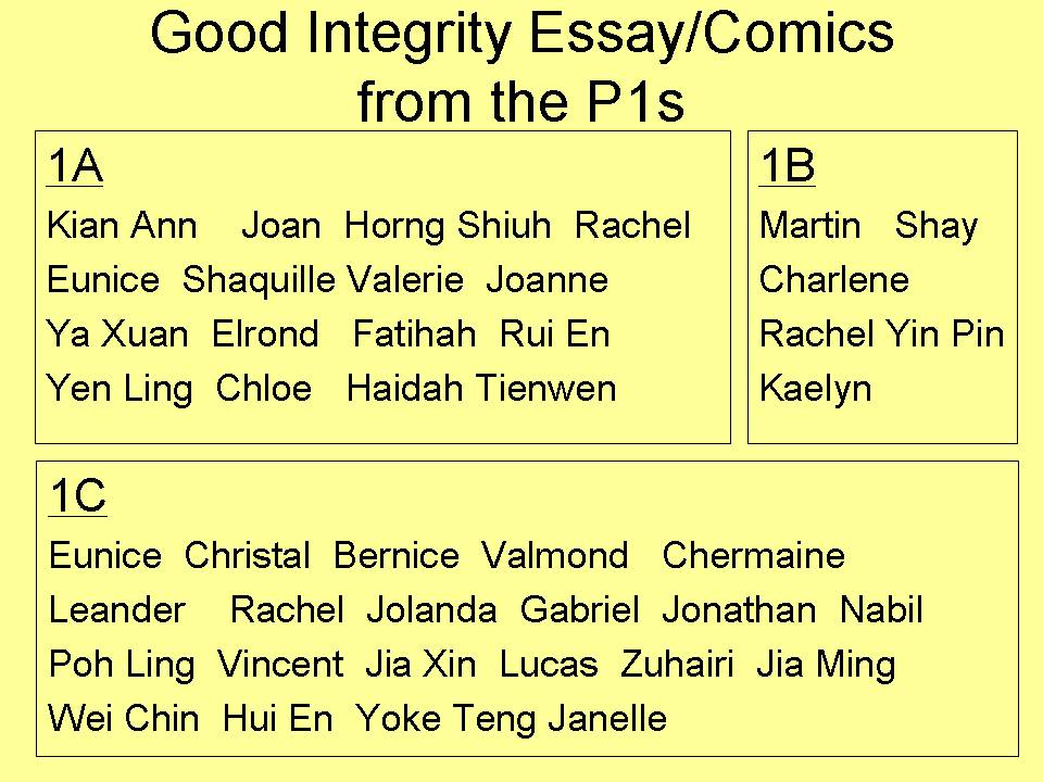integrity essay Of character champions it, integrity should play a part in who you admire t essay on how your example ent life if he or she.