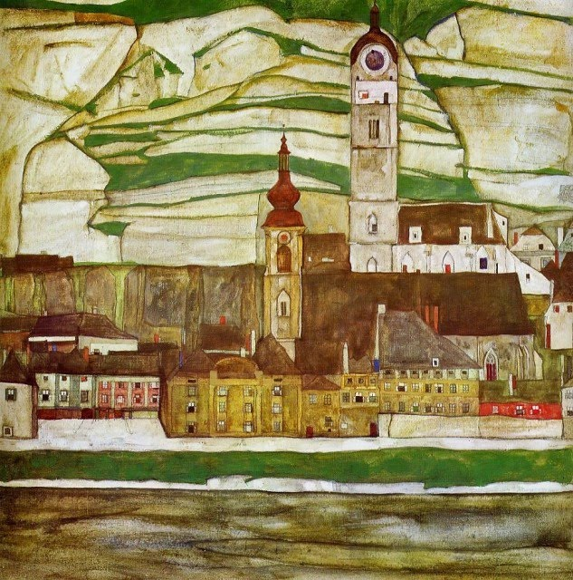 Egon Schiele - Page 3 Egon_Schiele_-_Stein_on_the_Danube_with_Terraced_Vineyards