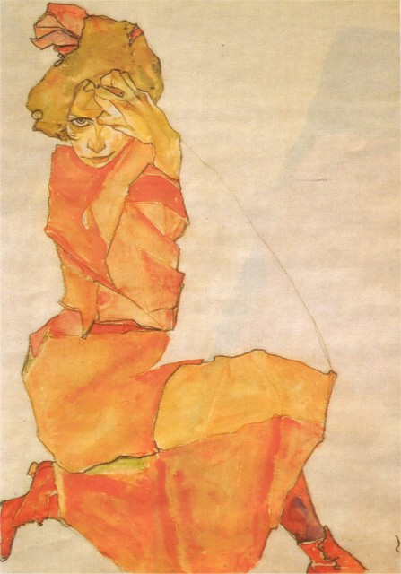 Egon Schiele - Page 3 Egon_Schiele_-_Girl_in_orange_1910
