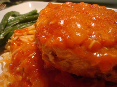 swordfish-topped pasta and green beans