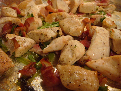 broiled chicken, bacon, and scallions