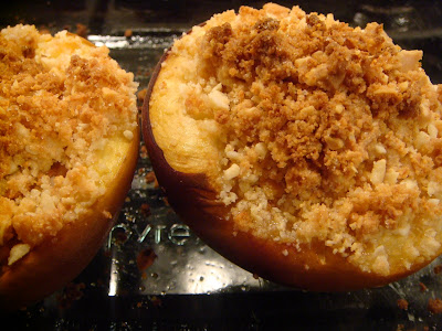roast peaches with amaretti crumble