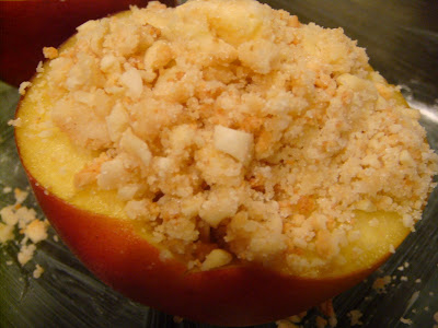 unbaked peaches filled with amaretti crumble