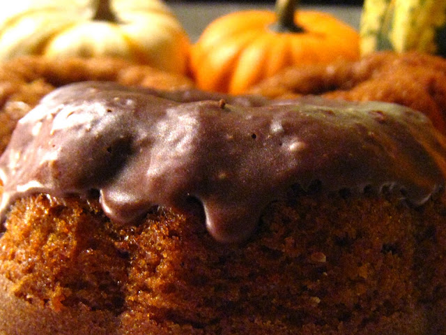 Pumpkin chocolate chip Bundt cake with chocolate crackle glaze