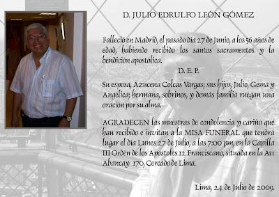 Invitacion Misa De Mes De Nuestro Hermano Julio Leon Gomez 27 Jul 2009
