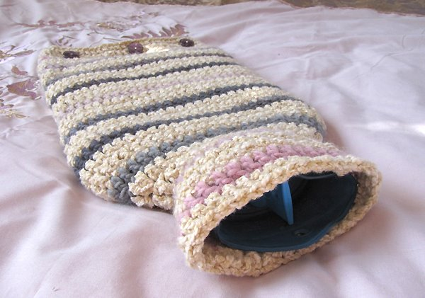 Camellia Rose Striped Hot Water Bottle Cover Crochet Pattern