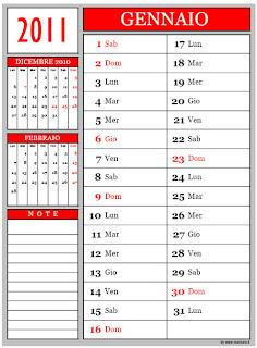 Calendari 2011 mese per mese
