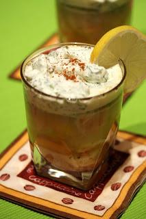 garnélarák-narancs cappuccino zöldfűszeres habbal