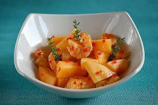 rák garnéla garnélarák sárgadinnye dinnye saláta kakukkfű chili peperoni tokaji bor
